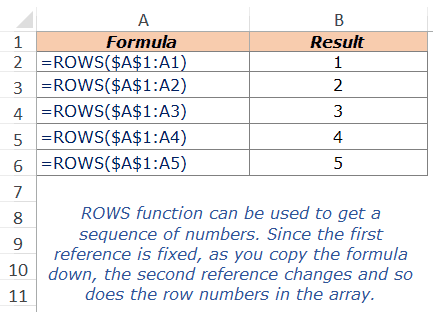Excel ROWS Function - Example 2