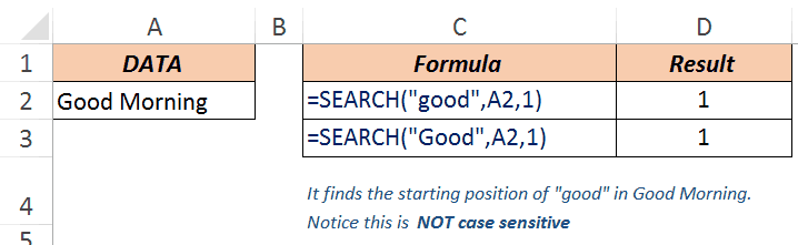 Excel Search Function - Example 1