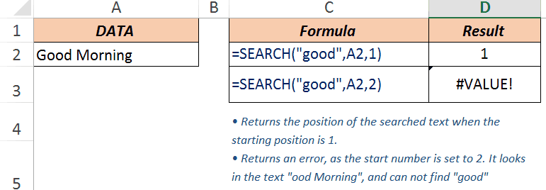 Excel Search Function - Example 2
