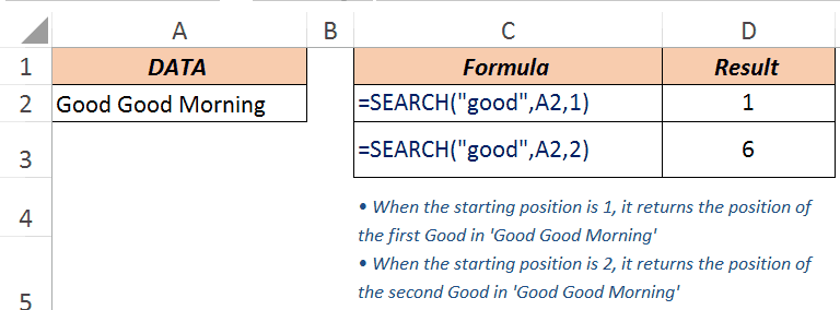 Excel Search Function - Example 3