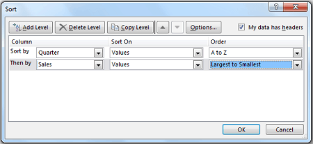 Excel Data Sorting - Criteria Dialogue Box Additional Level