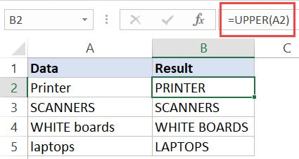 Excel Upper Function - Example 1