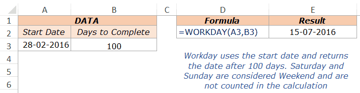 Excel Workday Function - Example 1