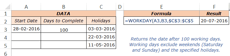 Excel Workday Function - Example 2