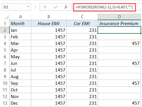 Fill every nth cell with a value in Excel