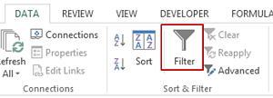 Excel Data Filter - Button In Excel Ribbon