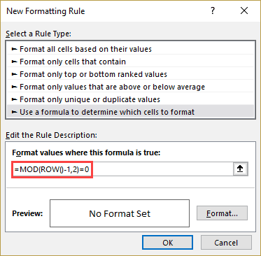 Mod function in Conditional Formatting dialog box