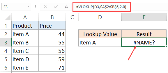 NAME Error in Excel