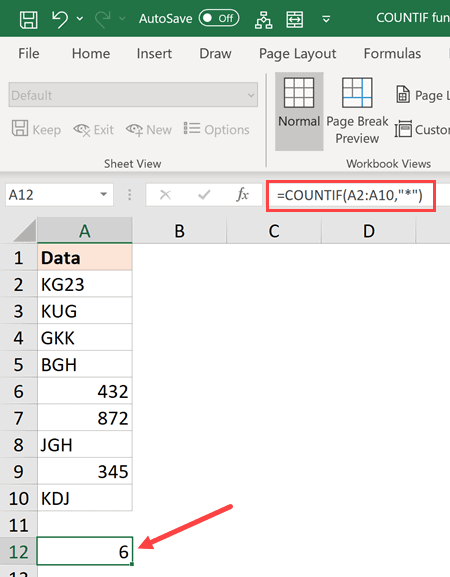 formula to count cells that contain text