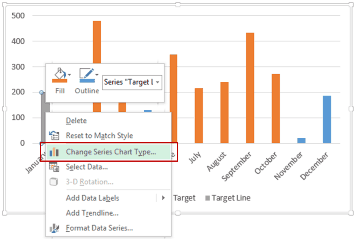 Dynamic Target Line in Excel - Change Series Chart Type in Excel Chart