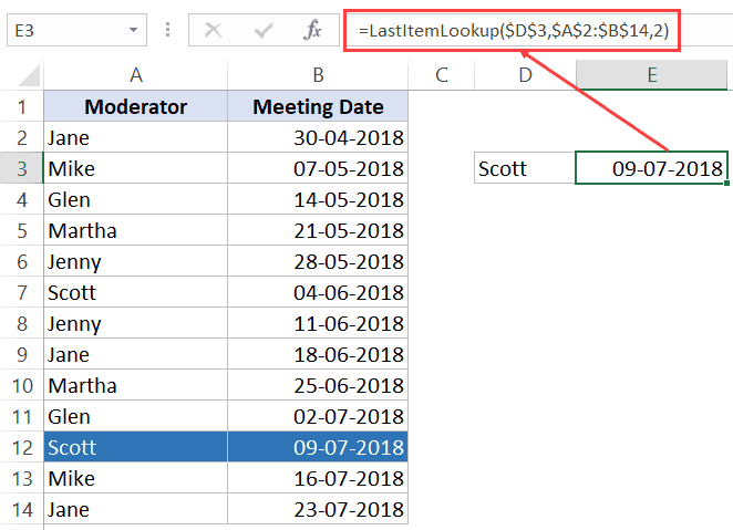 Find Last Occurrence in a List - Custom Function Demo
