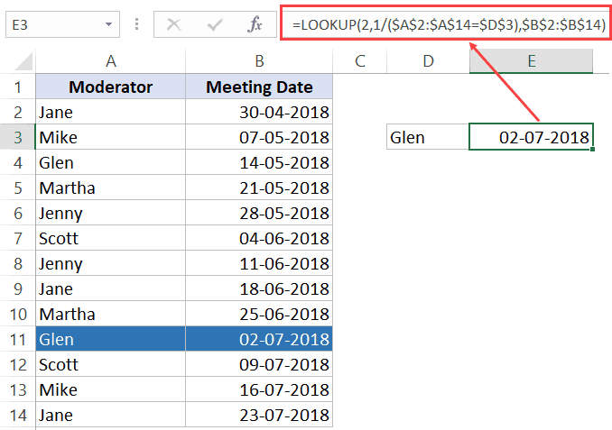 excel if then formula list