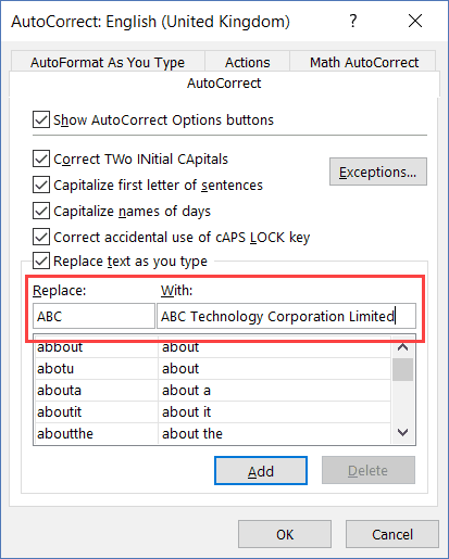 Autocorrect Options to Change Abbreviations