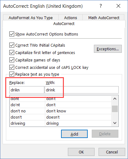 Autocorrect dialog box - replace with word