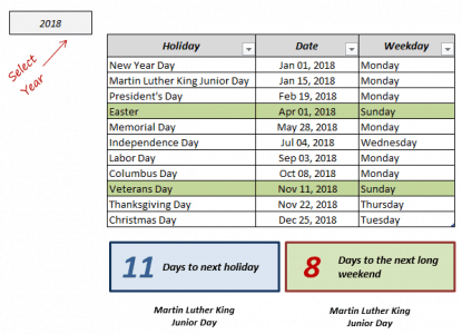 Excel Holiday Calendar List Template - Demo