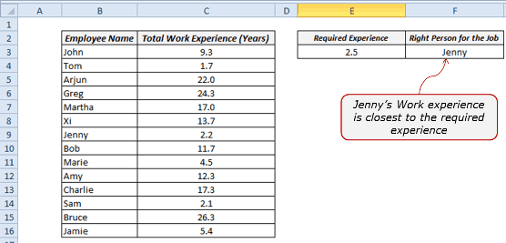 Find the Closest Match in Excel