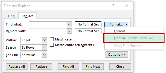 Find and Replace in Excel - Choose format from cell