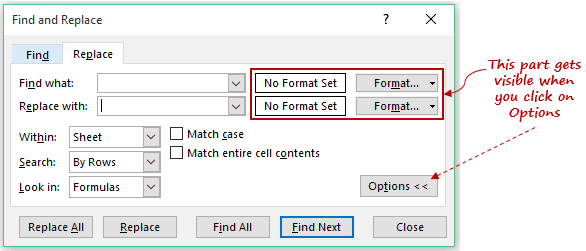 Find and Replace in Excel - Click on Options Button