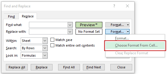 Find and Replace in Excel - Replace Choose format from cell