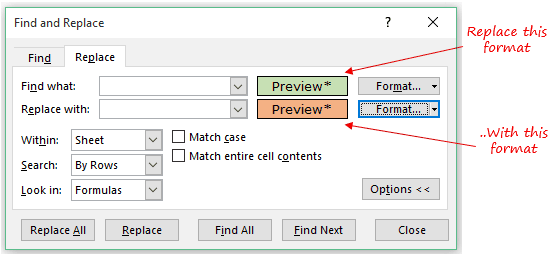 Find and Replace in Excel - find and replace with formats