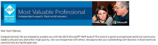 Excel MVP mail