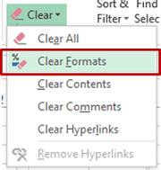 Clean Data in Excel - Clear Formats