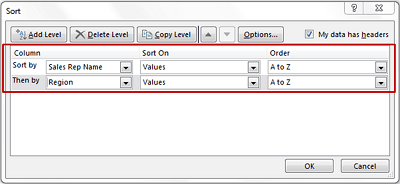 how to set up different fields in excel