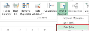 One Variable Data Table in Excel - Selecting from Ribbon