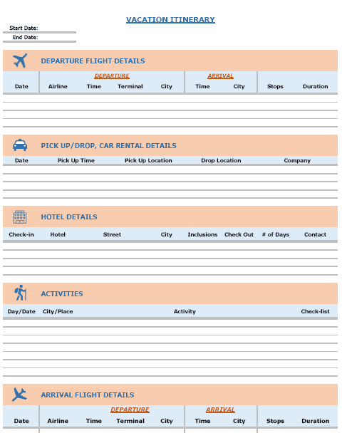 Free Excel Templates - Vacation Itinerary Template