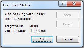 Goal Seek in Excel - Status Dialogue Box