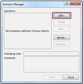 Scenario Manager in Excel - Add