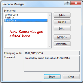 Scenario Manager in Excel - Added Scenarios