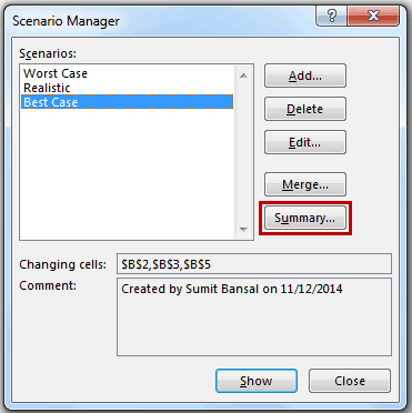 Scenario Manager in Excel - Summary Button