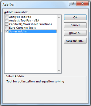 Solver in Excel - Add Solver Add in and Click GO
