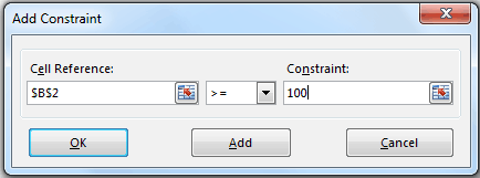 Solver in Excel - Add a Constraint