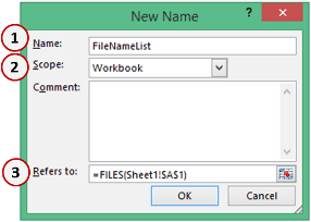 File Names from a Folder in Excel - Define Name Refres to