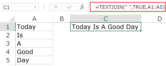 Concatenate Excel Ranges using the Textjoin function