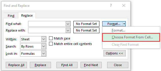 Choose bold font format from cell directly