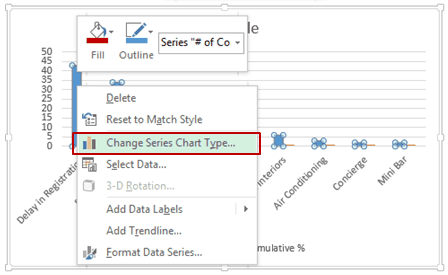 Pareto Chart in Excel - Change series chart type