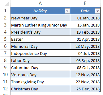 Excel Attendance Tracker Template - Holiday List
