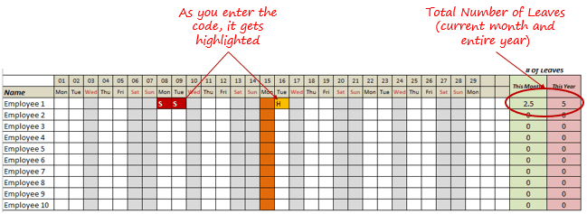 Leave planner in Excel - Free Template - number of Leaves Month Year