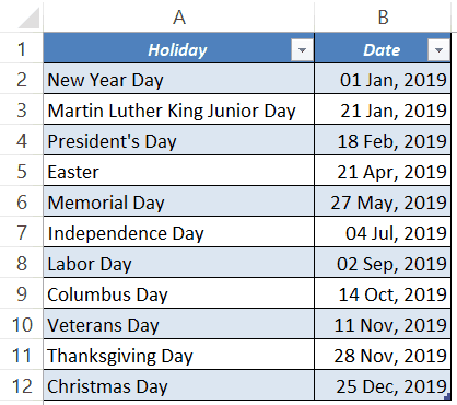 excel attendance tracker template holiday list
