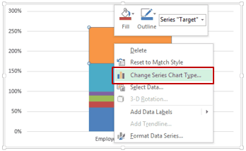 Bullet Chart in Excel - change series chart type