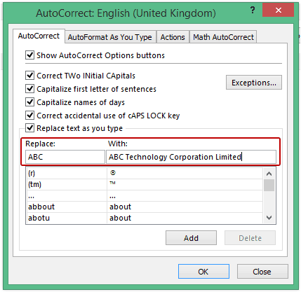 Excel Options - Autocorrect ABC