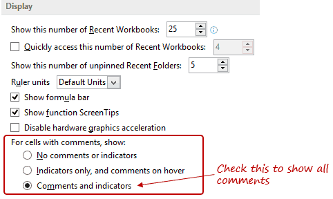 Excel Options - Show all comments
