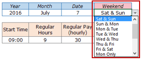 Excel Timesheet Calculator Template - Select Weekends