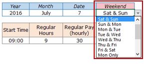 Excel Timesheet Calculator Template - Select Weekends
