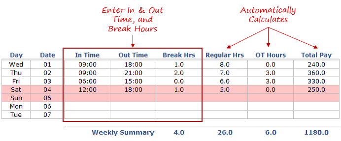 work hours spreadsheet