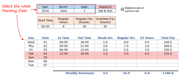 weekly timesheet template excel free download - Select starting date