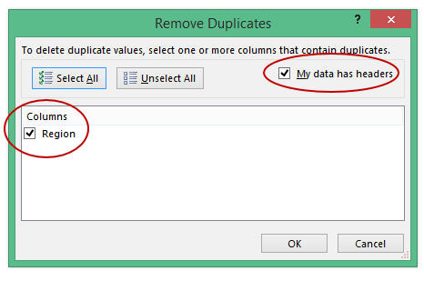 Find and Remove Duplicates in Excel - delete duplicate dialog box